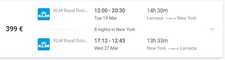 Larnaca New York air tickets